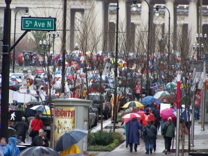 We marched to Legislative Plaza.